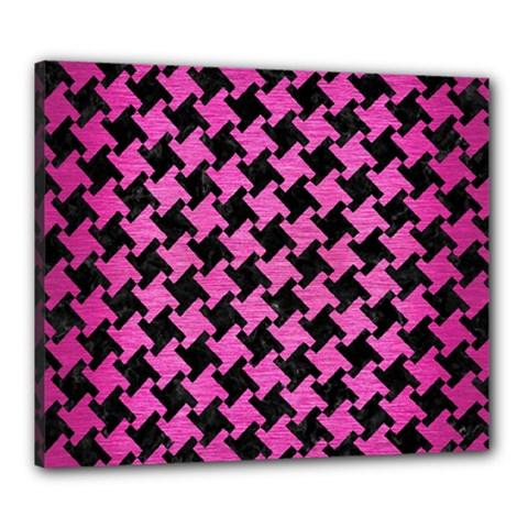 Houndstooth2 Black Marble & Pink Brushed Metal Canvas 24  X 20  by trendistuff