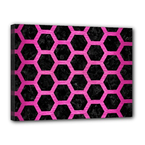 Hexagon2 Black Marble & Pink Brushed Metal (r) Canvas 16  X 12  by trendistuff