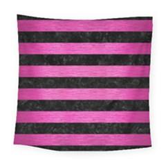 Stripes2 Black Marble & Pink Brushed Metal Square Tapestry (large) by trendistuff