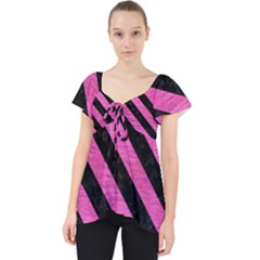 Stripes3 Black Marble & Pink Brushed Metal Lace Front Dolly Top