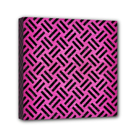 Woven2 Black Marble & Pink Brushed Metal Mini Canvas 6  X 6  by trendistuff