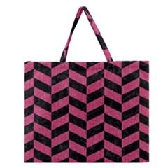Chevron1 Black Marble & Pink Denim Zipper Large Tote Bag by trendistuff