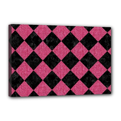 Square2 Black Marble & Pink Denim Canvas 18  X 12  by trendistuff