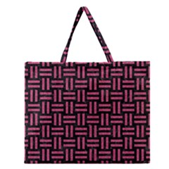 Woven1 Black Marble & Pink Denim (r) Zipper Large Tote Bag by trendistuff