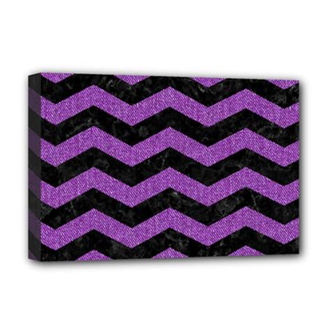 Chevron3 Black Marble & Purple Denim Deluxe Canvas 18  X 12   by trendistuff