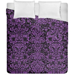 Damask2 Black Marble & Purple Denim (r) Duvet Cover Double Side (california King Size) by trendistuff