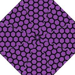 Hexagon2 Black Marble & Purple Denim Straight Umbrellas by trendistuff