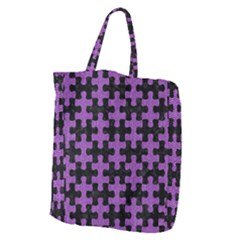 Puzzle1 Black Marble & Purple Denim Giant Grocery Zipper Tote by trendistuff