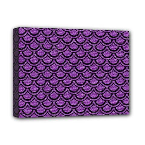 Scales2 Black Marble & Purple Denim Deluxe Canvas 16  X 12   by trendistuff