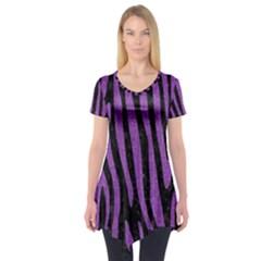 Skin4 Black Marble & Purple Denim Short Sleeve Tunic  by trendistuff