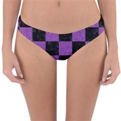 Square1 Black Marble & Purple Denim Reversible Hipster Bikini Bottoms by trendistuff