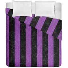 Stripes1 Black Marble & Purple Denim Duvet Cover Double Side (california King Size) by trendistuff