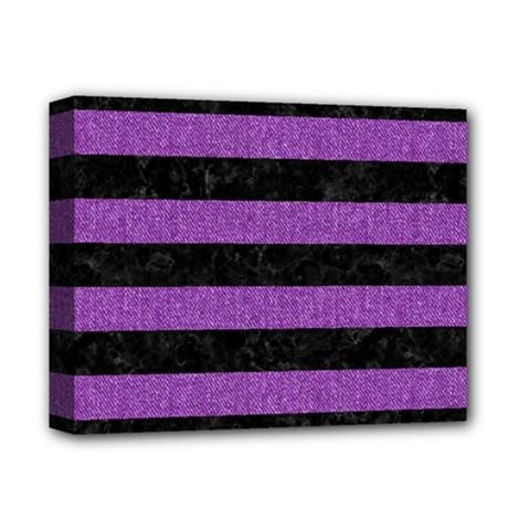 Stripes2 Black Marble & Purple Denim Deluxe Canvas 14  X 11  by trendistuff