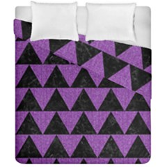 Triangle2 Black Marble & Purple Denim Duvet Cover Double Side (california King Size) by trendistuff