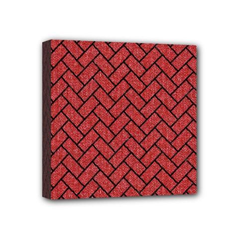 Brick2 Black Marble & Red Denim Mini Canvas 4  X 4  by trendistuff