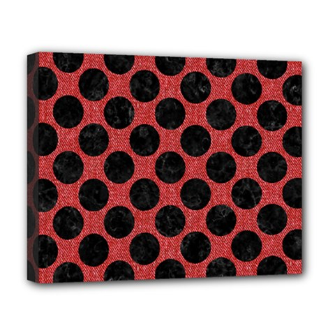 Circles2 Black Marble & Red Denim Deluxe Canvas 20  X 16   by trendistuff