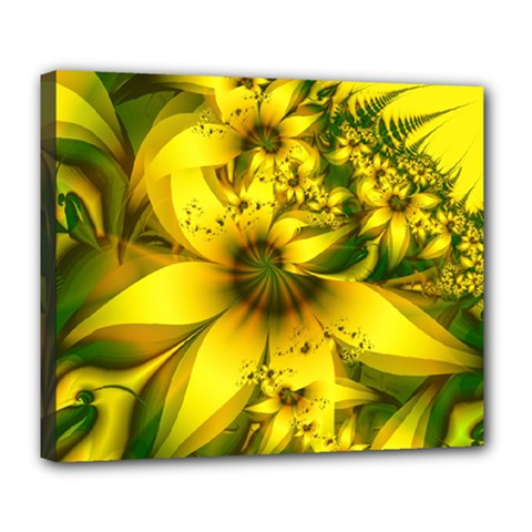 Beautiful Yellow Green Meadow Of Daffodil Flowers Deluxe Canvas 24  X 20   by jayaprime