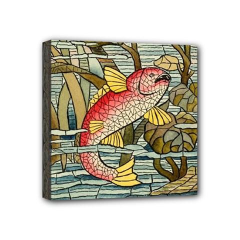 Fish Underwater Cubism Mosaic Mini Canvas 4  X 4  by Celenk
