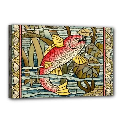Fish Underwater Cubism Mosaic Canvas 18  X 12  by Celenk