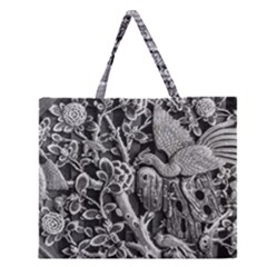 Black And White Pattern Texture Zipper Large Tote Bag by Celenk