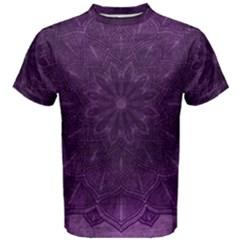 Background Purple Mandala Lilac Men s Cotton Tee by Celenk