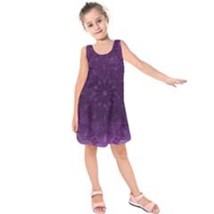 Background Purple Mandala Lilac Kids  Sleeveless Dress by Celenk