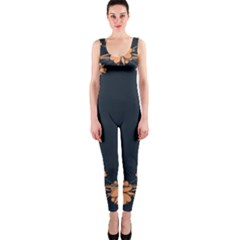 Floral Vintage Royal Frame Pattern Onepiece Catsuit by Celenk