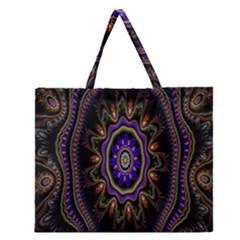 Fractal Vintage Colorful Decorative Zipper Large Tote Bag by Celenk