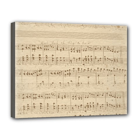 Vintage Beige Music Notes Canvas 14  X 11  by Celenk