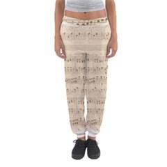Vintage Beige Music Notes Women s Jogger Sweatpants by Celenk
