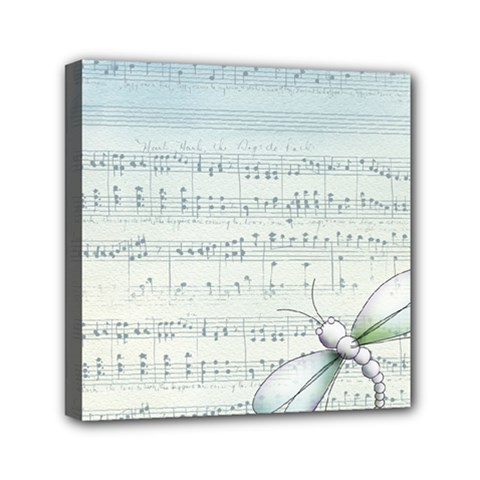 Vintage Blue Music Notes Mini Canvas 6  X 6  by Celenk
