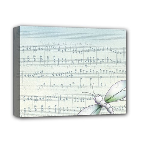 Vintage Blue Music Notes Deluxe Canvas 14  X 11  by Celenk