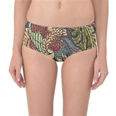 Wings Feathers Cubism Mosaic Mid Waist Bikini Bottoms by Celenk
