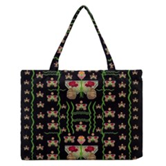 Roses In The Soft Hands Makes A Smile Pop Art Zipper Medium Tote Bag by pepitasart