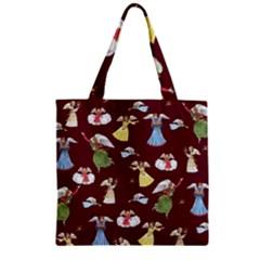 Christmas Angels  Zipper Grocery Tote Bag by Valentinaart