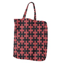 Puzzle1 Black Marble & Red Denim Giant Grocery Zipper Tote by trendistuff