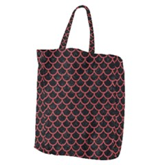Scales1 Black Marble & Red Denim (r) Giant Grocery Zipper Tote by trendistuff