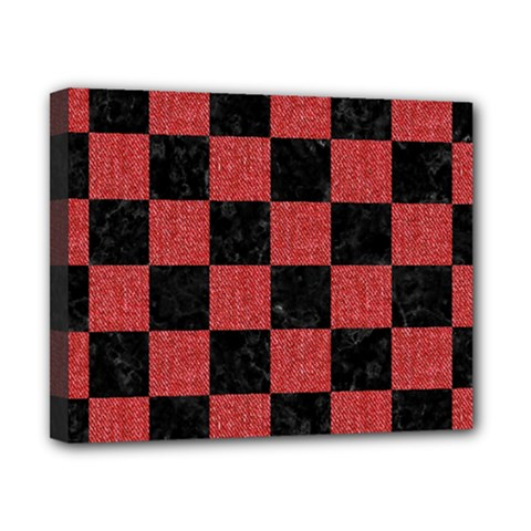 Square1 Black Marble & Red Denim Canvas 10  X 8  by trendistuff