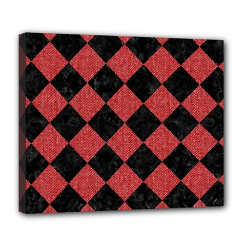 Square2 Black Marble & Red Denim Deluxe Canvas 24  X 20   by trendistuff