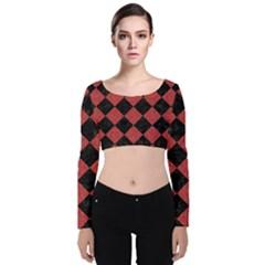 Square2 Black Marble & Red Denim Velvet Long Sleeve Crop Top