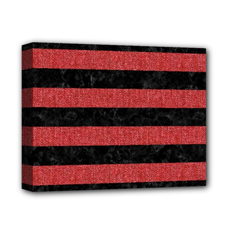 Stripes2 Black Marble & Red Denim Deluxe Canvas 14  X 11  by trendistuff