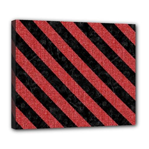 Stripes3 Black Marble & Red Denim Deluxe Canvas 24  X 20   by trendistuff