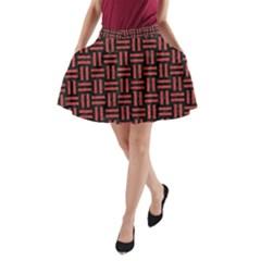 Woven1 Black Marble & Red Denim (r) A Line Pocket Skirt by trendistuff