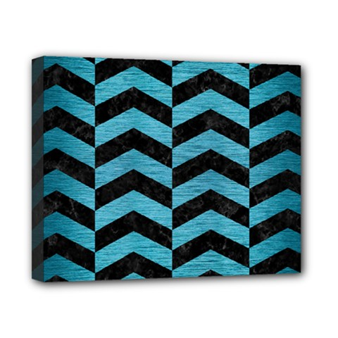 Chevron2 Black Marble & Teal Brushed Metal Canvas 10  X 8  by trendistuff