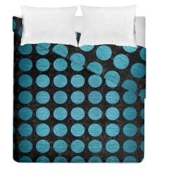 Circles1 Black Marble & Teal Brushed Metal (r) Duvet Cover Double Side (queen Size) by trendistuff