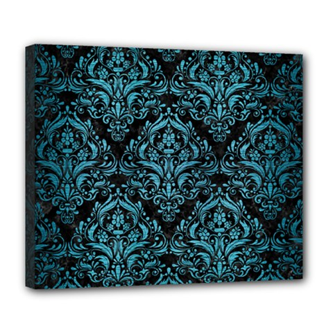 Damask1 Black Marble & Teal Brushed Metal (r) Deluxe Canvas 24  X 20   by trendistuff