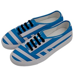 Blue And White Lines Men s Classic Low Top Sneakers by berwies