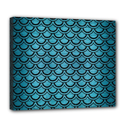 Scales2 Black Marble & Teal Brushed Metal Deluxe Canvas 24  X 20   by trendistuff