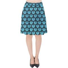 Scales3 Black Marble & Teal Brushed Metal Velvet High Waist Skirt by trendistuff
