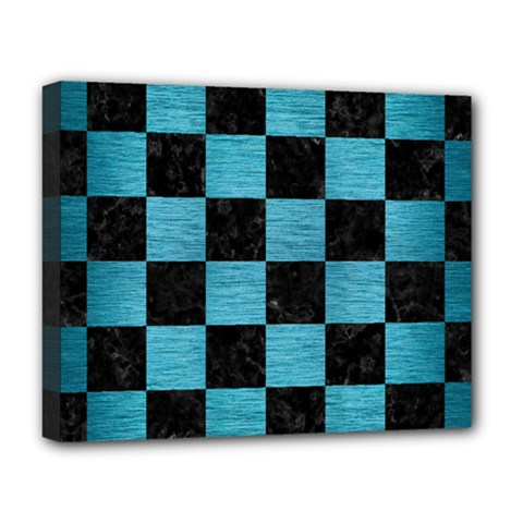 Square1 Black Marble & Teal Brushed Metal Deluxe Canvas 20  X 16   by trendistuff